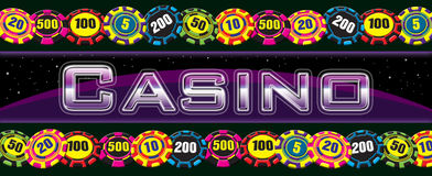 Casino Sign With Chips Stock Photos