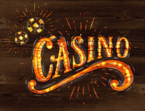 Casino sign wood Royalty Free Stock Images