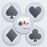 Casino simple icon card suits. Simple  Icons set of four card suits. Flat symbols of gambling and casino. Vector Illustration, editable and isolated Stock Images