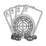 Casino, single icon in outline style.Casino vector symbol stock illustration web. Royalty Free Stock Photography