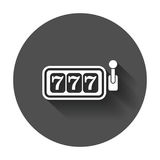 Casino slot machine flat vector icon. 777 jackpot illustration p. Ictogram on black round background with long shadow vector illustration