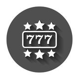 Casino slot machine flat vector icon. 777 jackpot illustration p. Ictogram on black round background with long shadow Stock Photo