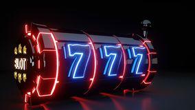Casino Slot Machine Gambling Concept With Neon Lights Isolated On The Black Background - 3D Illustration royalty free illustration