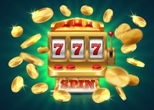 Casino slot machine. 777 jackpot, winning game lottery background, flying golden coins. Vector golden machine stock illustration