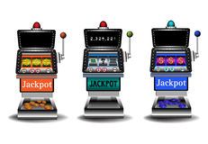 Casino slot machines. Three slot machines  on a white background. Gambling theme Stock Images