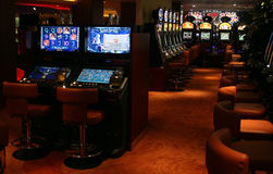 Casino slot machines. With glowing screens Royalty Free Stock Photos