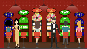 Casino slot machines. Peple in red interior play with slot machines. Winner and looser Stock Photo