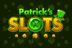 Screen logo slots, banner Casino slots, banner of St.Patrick, background game screensaver. Vector illustration. Casino slots, banner Casino slots, banner of St stock illustration