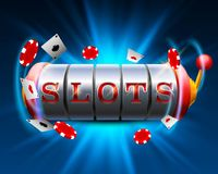 Casino slots jackpot 777 signboard. Vector illustration royalty free illustration
