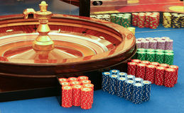 Casino - spinning roulette wheel with ball Stock Photos