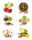 Casino Symbols Attributes 6 Icons Set Royalty Free Stock Image