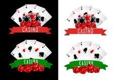 Casino symbols. With decorative ribbons, gambling cards, chips and dice on black or white background Stock Image