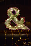 Casino symbols in neon lights. Fremont street scenes at night royalty free stock photos