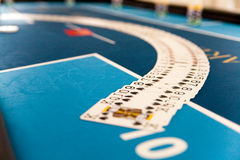 Cards spread on casino in table Stock Image