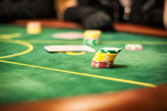 Casino table for card games. Casino table for poker card games Royalty Free Stock Photo