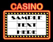 Casino template. Advertising casino background with neons Stock Image