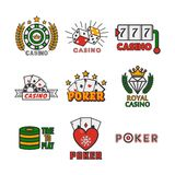 Casino template with colorful logo labels vector set on white. Royal casino template with colorful logo labels vector collection on white. Poker game equipments vector illustration