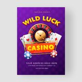 Casino template or flyer design with roulette wheel, 3d casino chips and playing card. Casino template or flyer design with roulette wheel, 3d casino chips and stock illustration