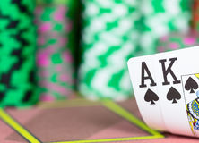 Casino Texas Hold`em Poker game. Royalty Free Stock Images