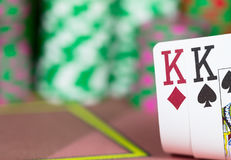 Casino Texas Hold`em Poker game. Royalty Free Stock Photos