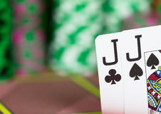 Casino Texas Hold`em Poker game. Royalty Free Stock Photo