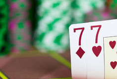 Casino Texas Hold`em Poker game. Two cards on the table Stock Photo