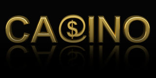 Casino text with money Royalty Free Stock Photo