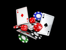 Casino theme with color playing chips and poker cards, isolated black, 3d illustration Stock Images