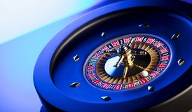 Casino theme. Place for typography. High contrast image of casino roulette. Blue background. Place for text royalty free stock photography