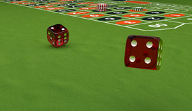 Casino theme, playing chips and dice on a gaming table, 3d illustration Royalty Free Stock Photos