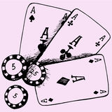 Casino theme playing chips poker cards stock illustration