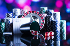 Casino. Theme, set of different  objects stock images