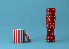 Casino theme. white with red playing chips with plastic dices on blue background, 3d illustration stock image