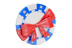 Casino token with bow and ribbon, gift concept. 3D rendering Royalty Free Stock Photography