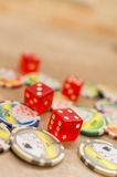 Casino tokens dice Stock Images