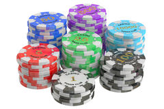 Casino Tokens stack, 3D rendering Stock Photography