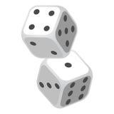 Casino twee die dobbelt Vectorillustratie gokken Stock Foto's