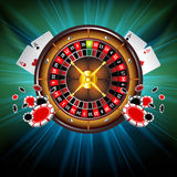 Casino Vector Background with Roulette Wheel Stock Photo