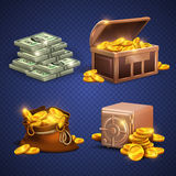 Casino vector 3d signs and money icons. Dollars, gold coins in safe deposit and moneybag. Golden heap coins in box, illustration of wooden chest with money Royalty Free Stock Images