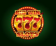 Casino vector golden slots machine with 777 numbers. Isolated on dark background copyspace vector illustration