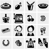 Casino vector icon set on gray Stock Photos