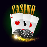 Casino vector poster. Cards, dices Royalty Free Stock Images