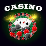 Casino vector poster of roulette and poker cards Royalty Free Stock Photos