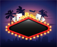 Casino vintage banner sign with cards chips and palm tree Royalty Free Stock Image