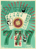 Casino vintage grunge style poster. Playing cards, roulette, triple seven. Stylized Jack, Queen and King. Vector illustration. Royalty Free Stock Image