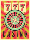 Casino vintage grunge style poster with roulette. Retro vector illustration. Casino vintage grunge style poster with roulette. Vector illustration vector illustration