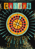Casino vintage grunge style poster with roulette. Retro vector illustration. Stock Images