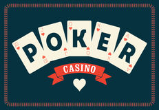 Casino vintage style poster. A royal flush playing cards poker. Retro vector illustration. Stock Image