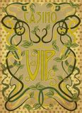 Casino VIP greeting card in art nouveau style. Vector illustration Stock Photography