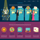 Casino Web Page Template. With happy visitors players different services entertainments and games vector illustration Stock Photography